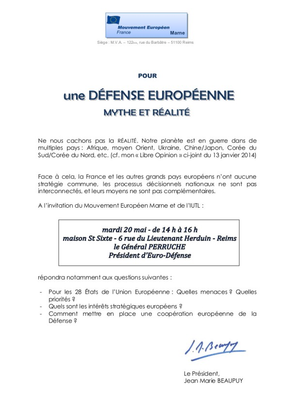 DEFENSE EUROPEENNE - Général PERRUCHE - Copie
